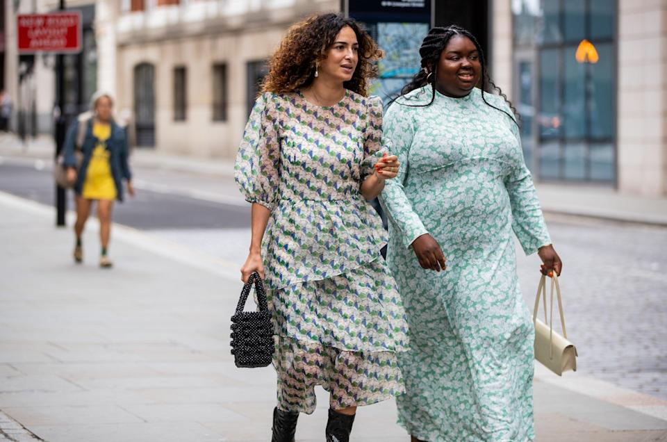 """These pretty green patterned dresses are a super-fresh look for September. <span class=""""copyright"""">Photo Courtesy of Christian Vierig/Getty Images.</span>"""