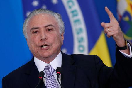 Brazil's President Michel Temer attends a meeting with Business Leaders to discuss the pension reform bill in the lower house, in Brasilia