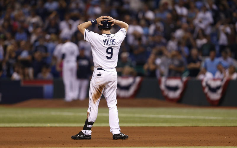 Tampa Bay Rays right fielder Wil Myers (9) stands on the field in the ninth inning in Game 4 of an American League baseball division series, Wednesday, Oct. 9, 2013, in St. Petersburg, Fla. The Boston Red Sox's defeated the Tampa Bay Rays 3-1 to move on to the American League Championship Series. (AP Photo/Mike Carlson)