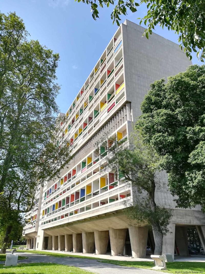 Le Corbusier employed bold colors on the exterior of his Unité d'Habitation in Marseille, France.