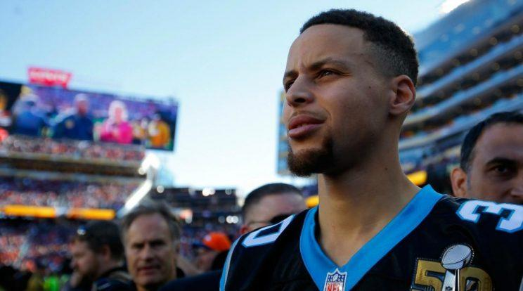 Stephen Curry wears some Carolina blue. (Getty Images)