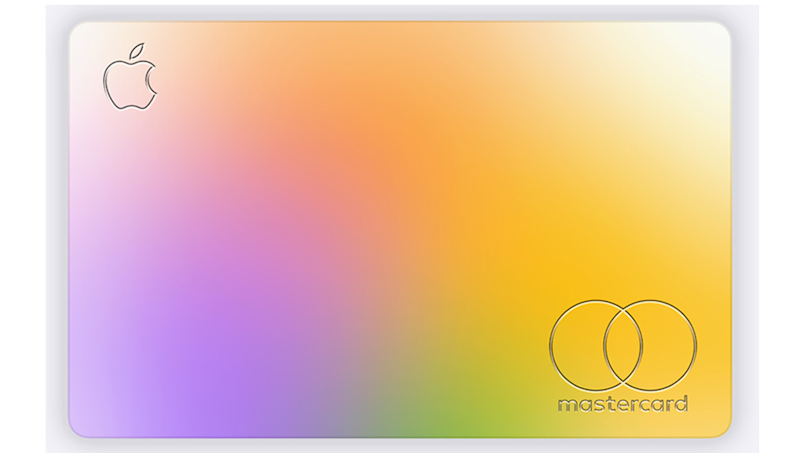 Multicolored pastel card with Mastercard logo at lower right and Apple logo at upper left.