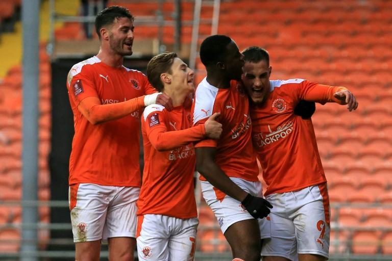 Blackpool celebrate in their FA Cup win over West Brom