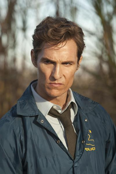 "This image released by HBO shows Matthew McConaughey as Rustin Cohle in a scene from the series ""True Detective."" A few years ago, Matthew McConaughey's career had bottomed out in rom-com mediocrity. He resolved to alter his path, and the rebirth that followed _ the so-called McConaissance _ reaches an apogee with his Oscar nomination for his performance in ""Dallas Buyers Club."" (AP Photo/HBO, Jim Bridges)"