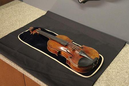 The 300-year-old Stradivarius violin that was taken from the Milwaukee Symphony Orchestra's concertmaster in an armed robbery is pictured in Milwaukee, Wisconsin