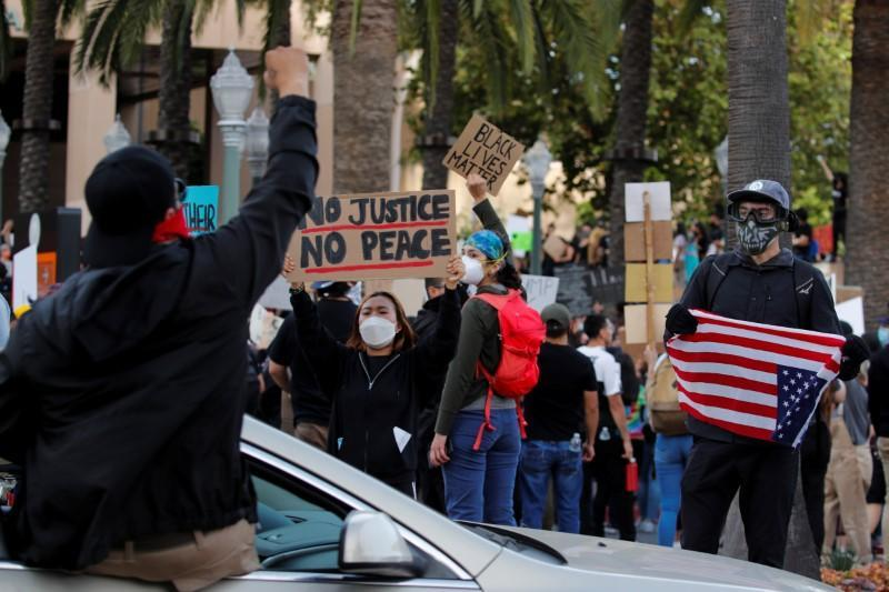 Protesters take part in a demonstration against the death in Minneapolis police custody of George Floyd, in Anaheim