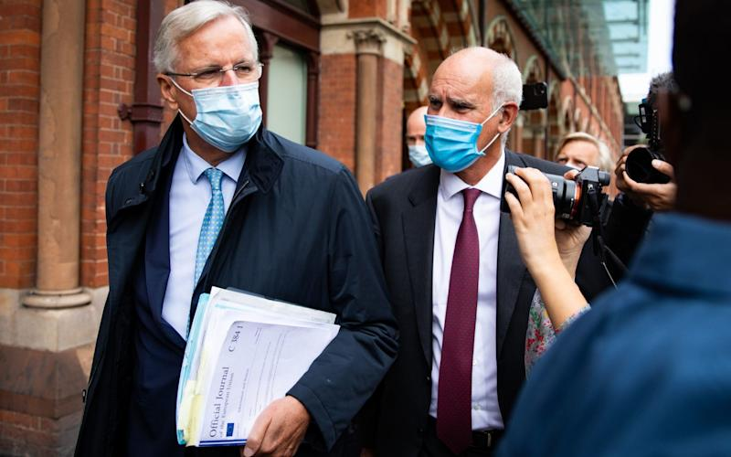 The row over the Withdrawal Agreement has overshadowed ongoing trade negotiations with Michel Barnier, who is seen here arriving in London this week. - PA