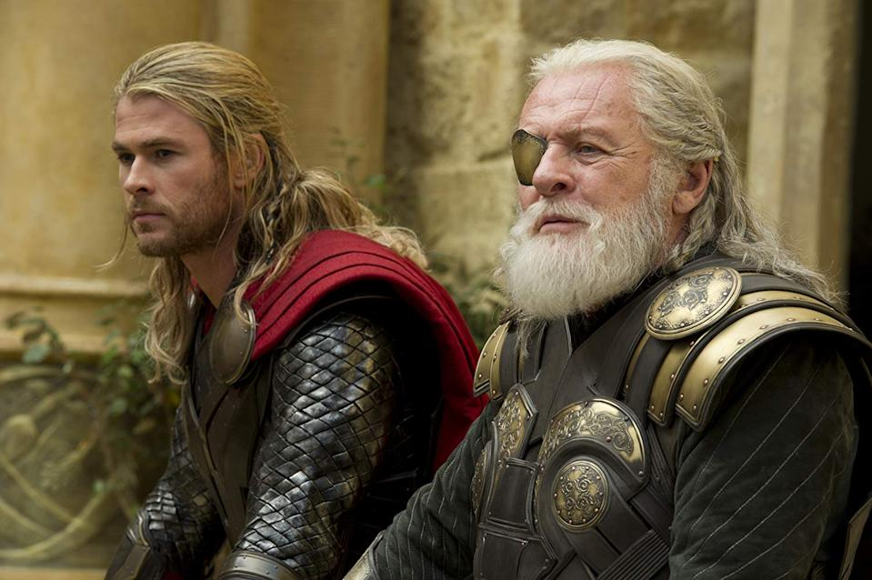 Chris Hemsworth as Thor and Anthony Hopkins as Odin in Thor: The Dark World