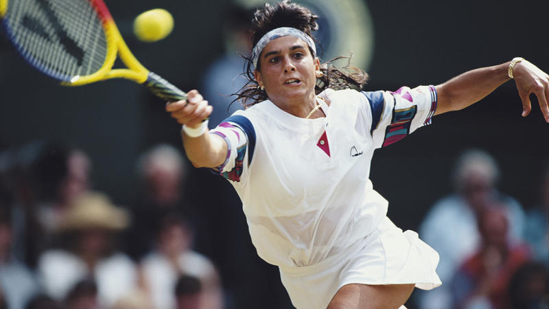 Gabriela Sabatini, pictured here in action at Wimbledon in 1995.