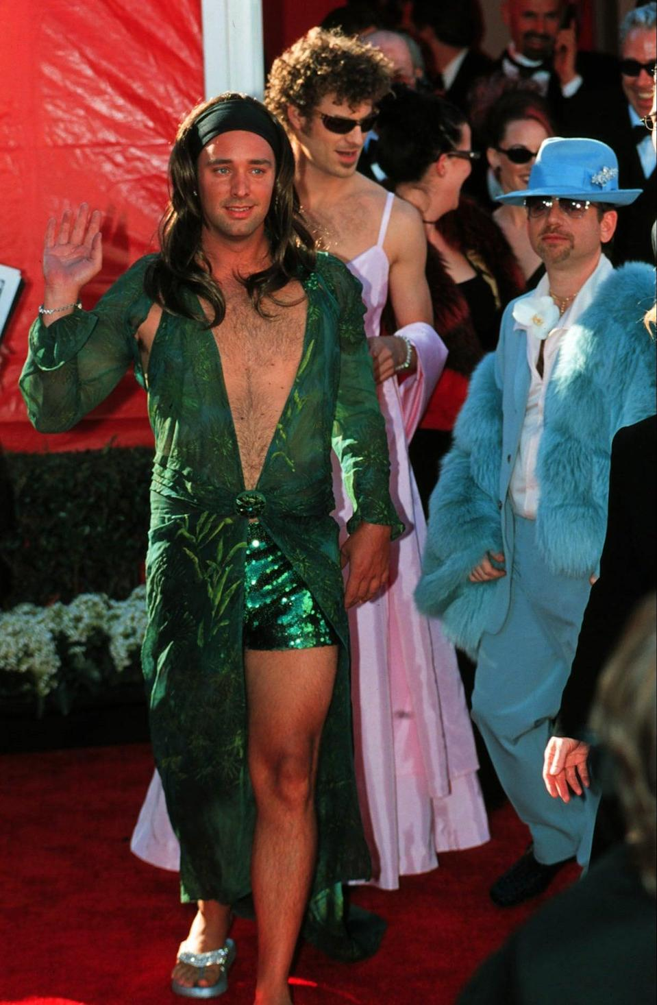 Trey Parker, left, dressed in drag as Jennifer Lopez, and Matt Stone as Gwyneth Paltrow in 2000Getty