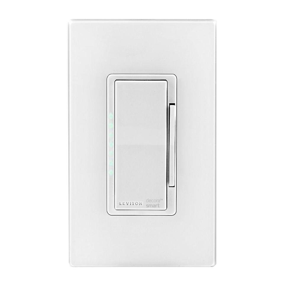 """<p><strong>Leviton</strong></p><p>amazon.com</p><p><strong>$41.34</strong></p><p><a href=""""https://www.amazon.com/dp/B01NASBN1V?tag=syn-yahoo-20&ascsubtag=%5Bartid%7C2089.g.22594462%5Bsrc%7Cyahoo-us"""" rel=""""nofollow noopener"""" target=""""_blank"""" data-ylk=""""slk:Shop Now"""" class=""""link rapid-noclick-resp"""">Shop Now</a></p><p>The Leviton Decora is an inexpensive standalone Wi-Fi dimmer that doesn't require a separate bridge. It provides customizable scenes, scheduling, and support for Amazon Alexa and Google Assistant voice controls. We appreciate its straightforward design and easy installation.</p><p>There's a row of LEDs on its side that'll let you know how much dimmer or brighter you can go. Plus, this budget dimmer also works with three-way switches, making it a good choice for those who have large rooms in their home with lots of light switches.<br></p><p>If you use Amazon's Alexa voice-controlled assistant, consider opting for this <a href=""""https://www.amazon.com/dp/B07WJ1BZQ7?th=1&tag=syn-yahoo-20&ascsubtag=%5Bartid%7C2089.g.22594462%5Bsrc%7Cyahoo-us"""" rel=""""nofollow noopener"""" target=""""_blank"""" data-ylk=""""slk:other Leviton switch"""" class=""""link rapid-noclick-resp"""">other Leviton switch</a>, which has a built-in speaker and microphone for interacting with Alexa and controlling your smart home.</p>"""