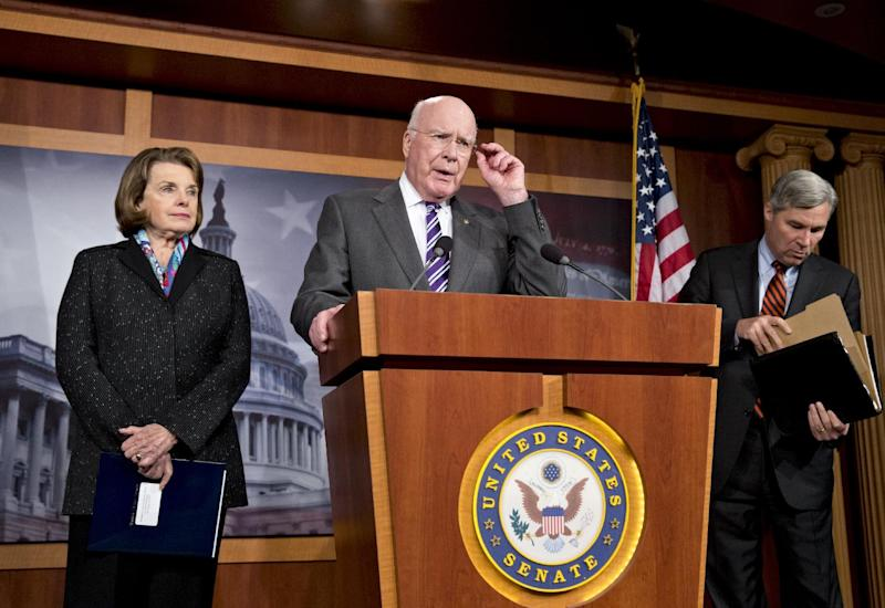 Senate Judiciary Committee Chairman Patrick Leahy, D-Vt., center, joined by Sen. Dianne Feinstein, D-Calif., left, and Sen. Sheldon Whitehouse, D-R.I., speaks to reporters after Senate Republicans derailed President Barack Obama's selection of Georgetown University law professor Cornelia Pillard to fill one of three vacancies on the U.S. Court of Appeals for the District of Columbia Circuit, at the Capitol in Washington, Tuesday, Nov. 12, 2013. Democrats used the vote to assail Republicans for opposing female nominees to the D.C. circuit. (AP Photo/J. Scott Applewhite)