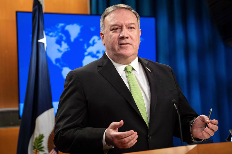 Secretary of State Mike Pompeo speaks during a press briefing at the State Department on Wednesday. Source: AP