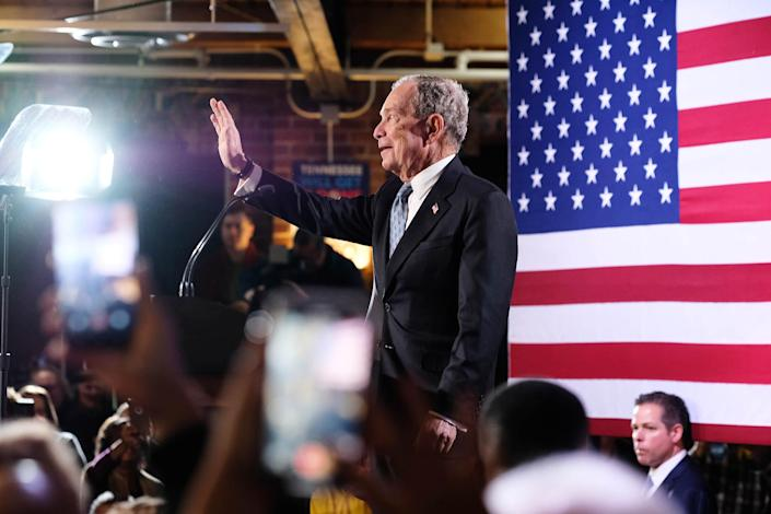 Democratic presidential candidate and former New York Mayor Michael Bloomberg waves to the audience at a campaign event in Chattanooga, Tenn. on Feb. 12, 2020. (Shawn Poynter/The New York Times)