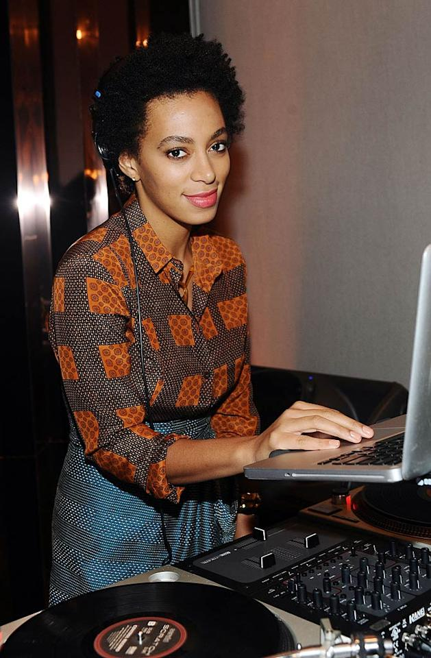 Beyonce's little sis Solange Knowles provided the entertainment as the night's DJ.   (October 26, 2011)