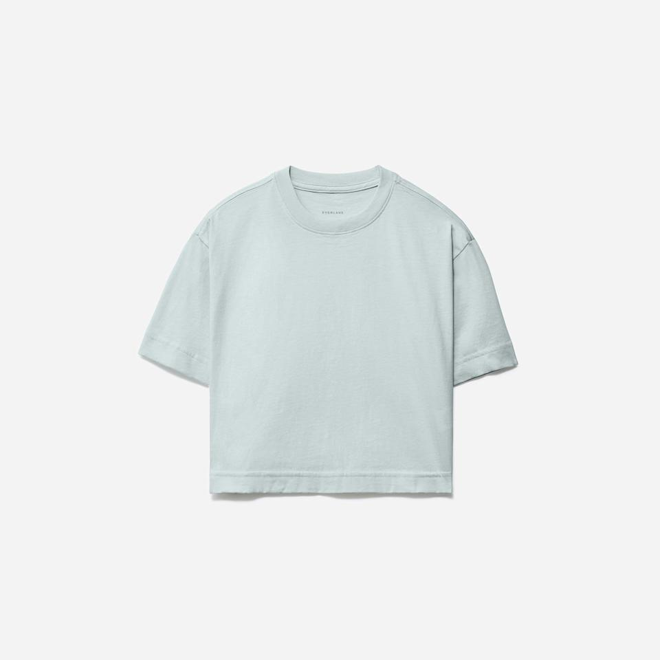 """<p><strong>Everlane</strong></p><p>everlane.com</p><p><a href=""""https://go.redirectingat.com?id=74968X1596630&url=https%3A%2F%2Fwww.everlane.com%2Fproducts%2Fwomens-organic-cotton-cropped-tee-ice-blue&sref=https%3A%2F%2Fwww.harpersbazaar.com%2Ffashion%2Ftrends%2Fg37038622%2Feverlane-summer-sale-best-items%2F"""" rel=""""nofollow noopener"""" target=""""_blank"""" data-ylk=""""slk:Shop Now"""" class=""""link rapid-noclick-resp"""">Shop Now</a></p><p><strong><del>$18</del> $15</strong></p><p>The wardrobe limit on boxy cropped tees simply doesn't exist. <br></p>"""