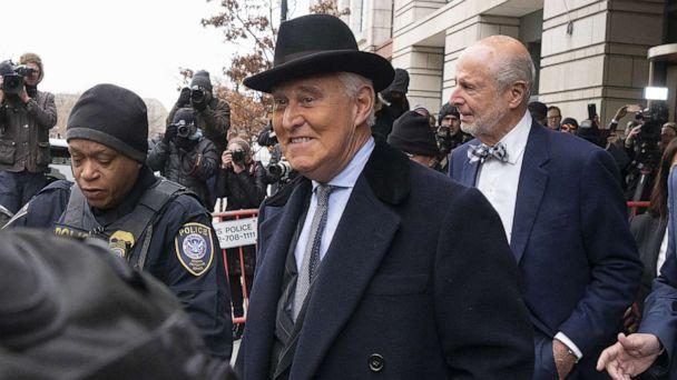 PHOTO: Roger Stone exits federal court in Washington, D.C., Feb. 20, 2020. (Stefani Reynolds/Bloomberg via Getty Images)
