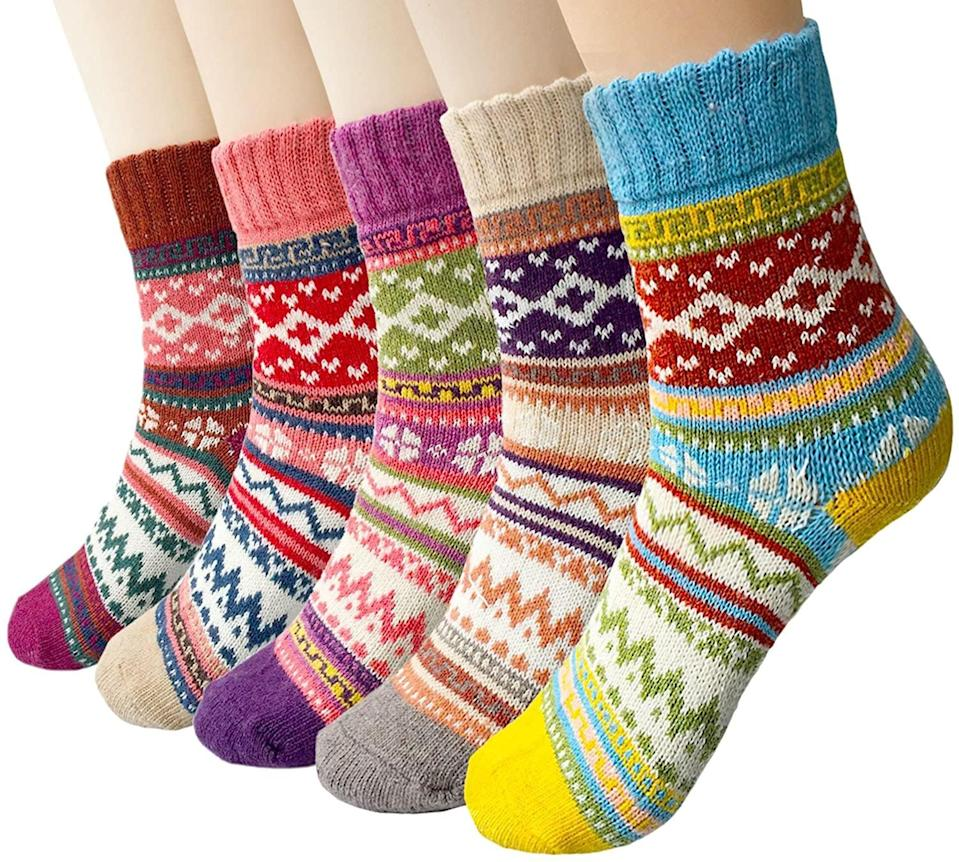 <p>How cute are these cozy <span>5 Pairs Vintage Soft Cabin Warm Womens Wool Socks</span> ($10, originally $16)!?</p>