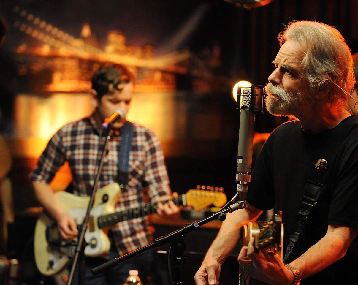 "Musician Sam Cohen and Bob Weir performs during the Yahoo! Music Presents ""The Bridge Session"" sponsored by Headcount at TRI Studios on March 24, 2012 in San Rafael, California."