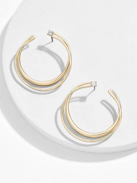 PHOTO: Double hoops are the update to summer's oversized version. Wear lightweight ones with a hint of sparkle. These are perfect with a flowing blouse. (Bauble Bar)