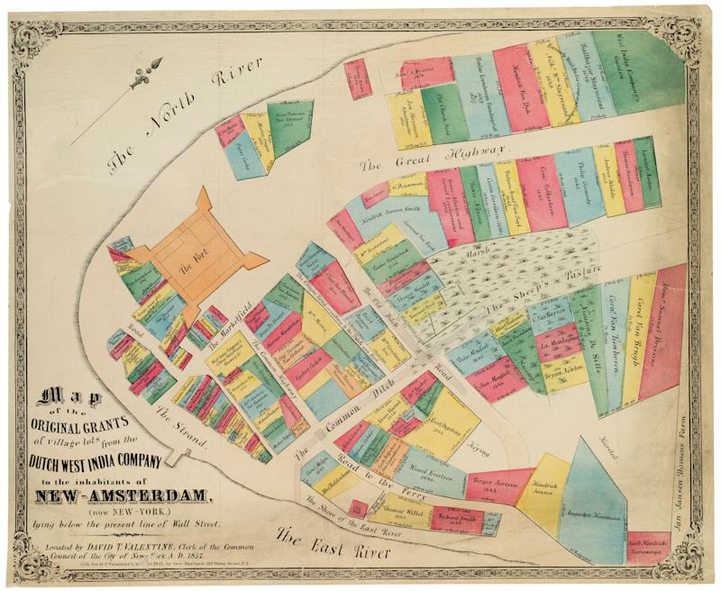 A map of the original grants of village lots in New Amsterdam. (Photo: The New York Historical Society/Getty Images)
