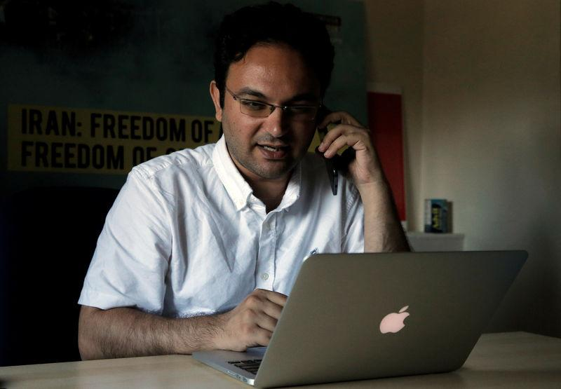 Amir Rashidi, an Internet security researcher, works at the offices of International Campaign for Human Rights in Iran, in New York