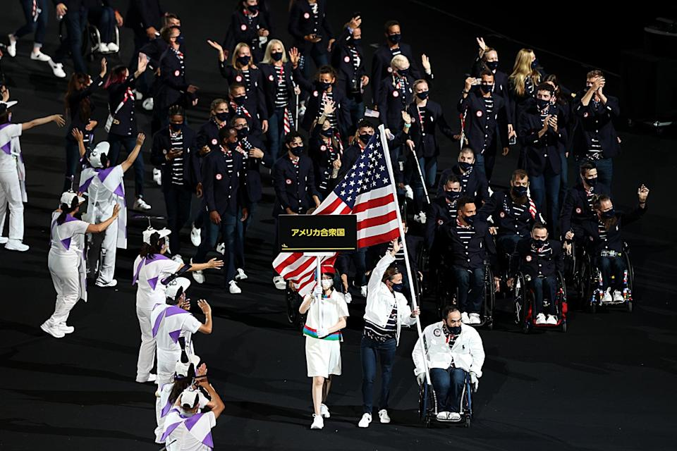 <p>Team USA enters the 2021 Paralympic opening ceremony during the Parade of Nations. </p>