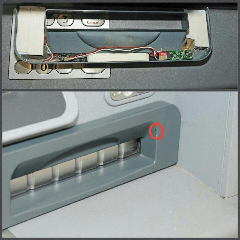The recording device is hidden in a false cover to the cash dispensing slot (City of London Police)