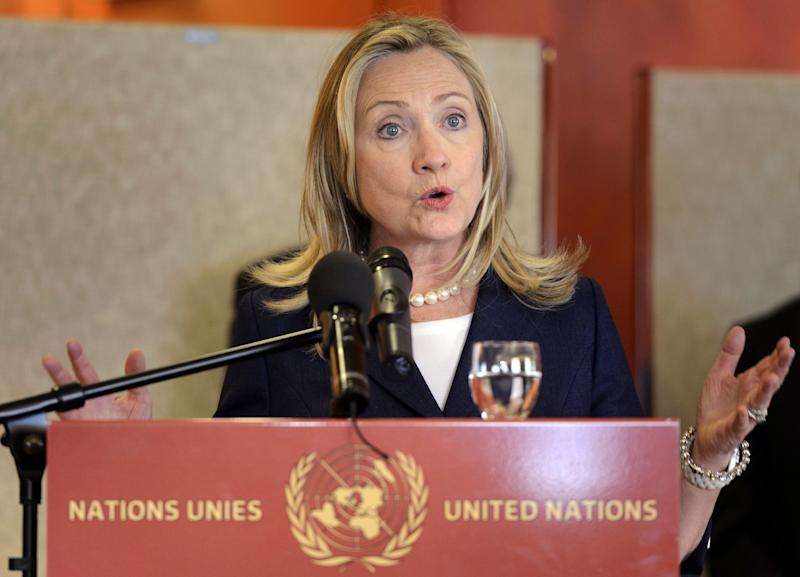 U.S. Secretary of State Hillary Rodham Clinton delivers a speech before a dinner hosted by Swiss authorities after a meeting of the Action Group for Syria at the European headquarters of the United Nations, in Geneva, Switzerland, Saturday, June 30, 2012. (AP Photo/Laurent Gillieron, Pool)