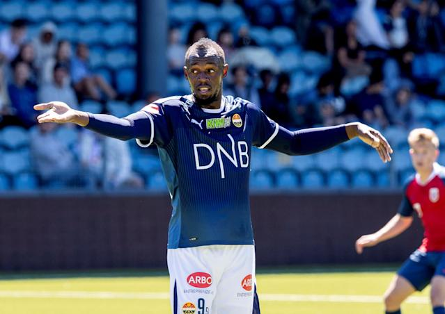 Jamaican sprint legend Usain Bolt plays in a friendly football match between Stromsgodset and Norway's U19 team at Marienlyst Stadium in Drammen, Norway, June 5, 2018. NTB Scanpix/Vidar Ruud via REUTERS ATTENTION EDITORS - THIS IMAGE WAS PROVIDED BY A THIRD PARTY. NORWAY OUT. NO COMMERCIAL OR EDITORIAL SALES IN NORWAY.