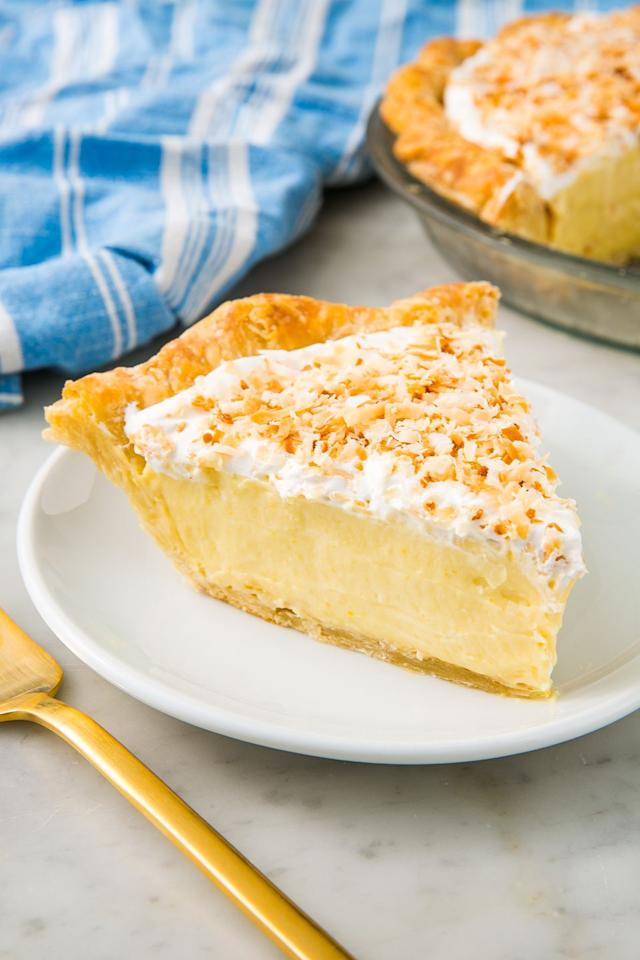 "<p>Sweet, creamy, and a definite crowdpleaser.  </p><p>Get the recipe from <a href=""https://www.delish.com/cooking/recipe-ideas/recipes/a23297/coconut-cream-pie-recipe-del1014/"" target=""_blank"">Delish</a>.</p>"