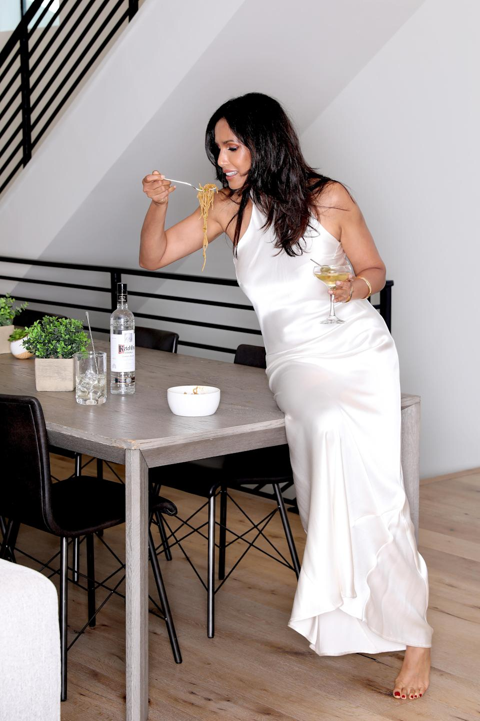 HOUSTON, TEXAS - SEPTEMBER 18: Padma Lakshmi prepares for the Emmys with a Ketel One Vodka martini in hand on September 18, 2021 in Houston, Texas. (Photo by Rick Kern/Getty Images for Ketel One Vodka)
