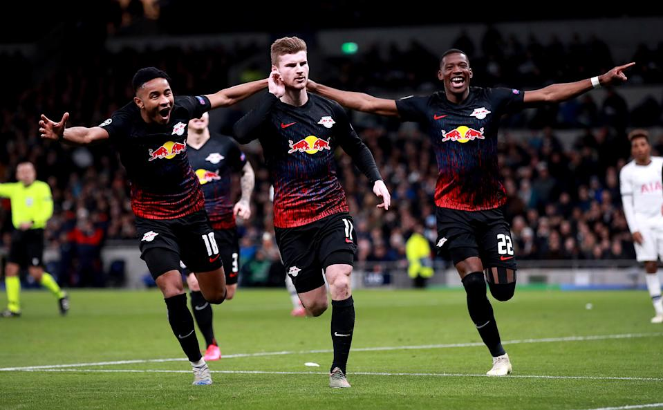 Timo Werner (center) scored the decisive goal in RB Leipzig's Champions League win over Tottenham. (Photo by Adam Davy/EMPICS/PA Images via Getty Images)