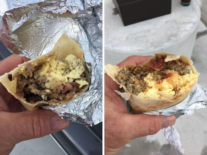 Two breakfast burritos from Buc-ee's.