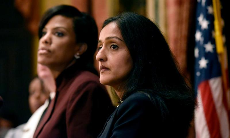 Vanita Gupta, right, with Stephanie Rawlings-Blake, Baltimore's mayor.