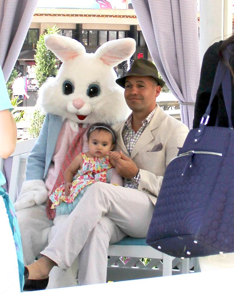"""Titanic"" actor Billy Zane sat in on his 14-month-old daughter Eva's  portrait with the Easter Bunny at The Grove shopping mall in Los  Angeles, where Jennifer Lopez also took her kids a few days before. (4/8/2012)"