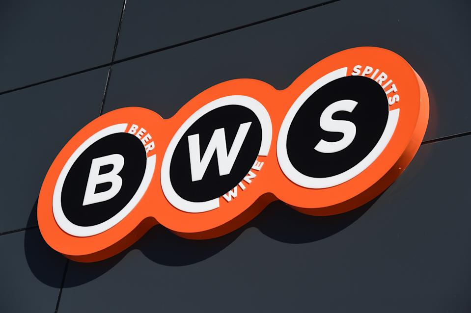 The logo of a BWS bottle shop which is owned by Woolworths supermarkets. Source: AAP