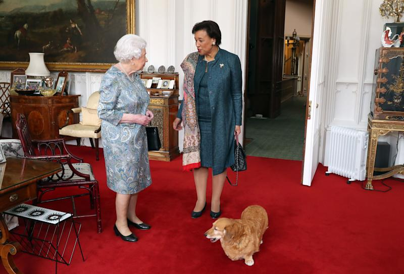 Queen Elizabeth II (left) receives the Commonwealth Secretary-General, Baroness Patricia Scotland, during an audience in the Oak Room at Windsor Castle, Berkshire.