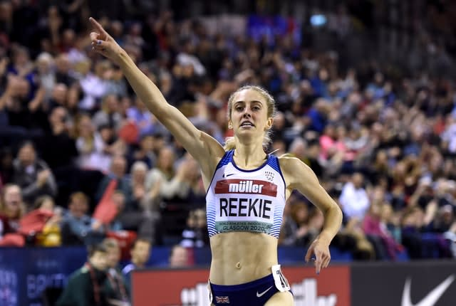 Jemma Reekie celebrates after winning the 1500m during the Muller Indoor Grand Prix in Glasgow