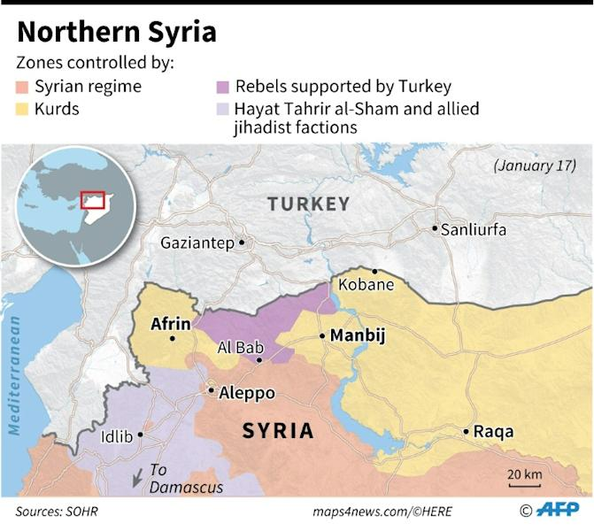 Map of northwestern Syria showing zones controlled by various factions