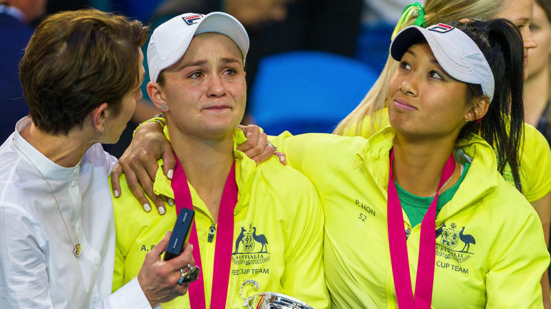 Ashleigh Barty in tears and comforted by Jayne Hrdlicka Tennis Australia President and Chair; and team mate Priscilla Hon after the Australian Team lost to the French Team the 2019 Fed Cup Final tie. (Photo by Andy Cheung/Getty Images)