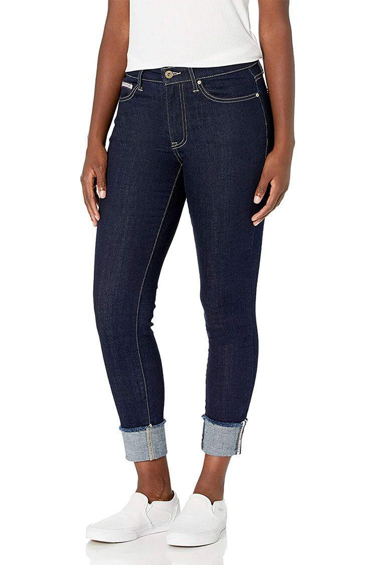 """<p><strong>Tommy Hilfiger</strong></p><p>amazon.com</p><p><strong>$19.99</strong></p><p><a href=""""https://www.amazon.com/dp/B08C736WGK?tag=syn-yahoo-20&ascsubtag=%5Bartid%7C2089.g.36397245%5Bsrc%7Cyahoo-us"""" rel=""""nofollow noopener"""" target=""""_blank"""" data-ylk=""""slk:Shop Now"""" class=""""link rapid-noclick-resp"""">Shop Now</a></p><p><strong><em>From $19.99</em></strong><br></p><p>Cropped jeans are always a fun way to subtly spice up an outfit, and these from Tommy Hilfiger are a must-have. They're subtly cropped so they fit in a flattering way even on taller fits, and their skinny fit hugs every curve to create a beautiful silhouette.</p>"""