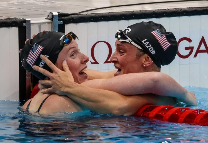Tokyo, Japan, Friday, July 30, 2021 -USA swimmers Lilly King, left.