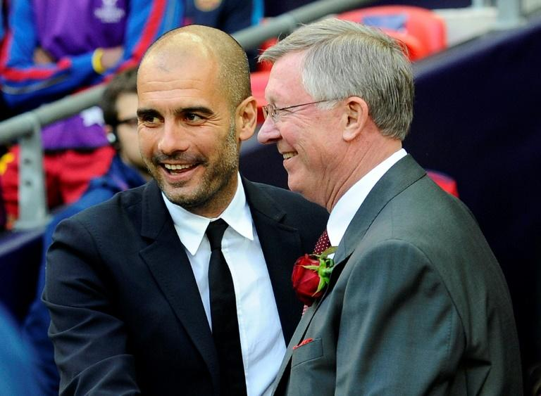 Pep Guardiola is pictured with Alex Ferguson during the UEFA Champions League final football in 2011
