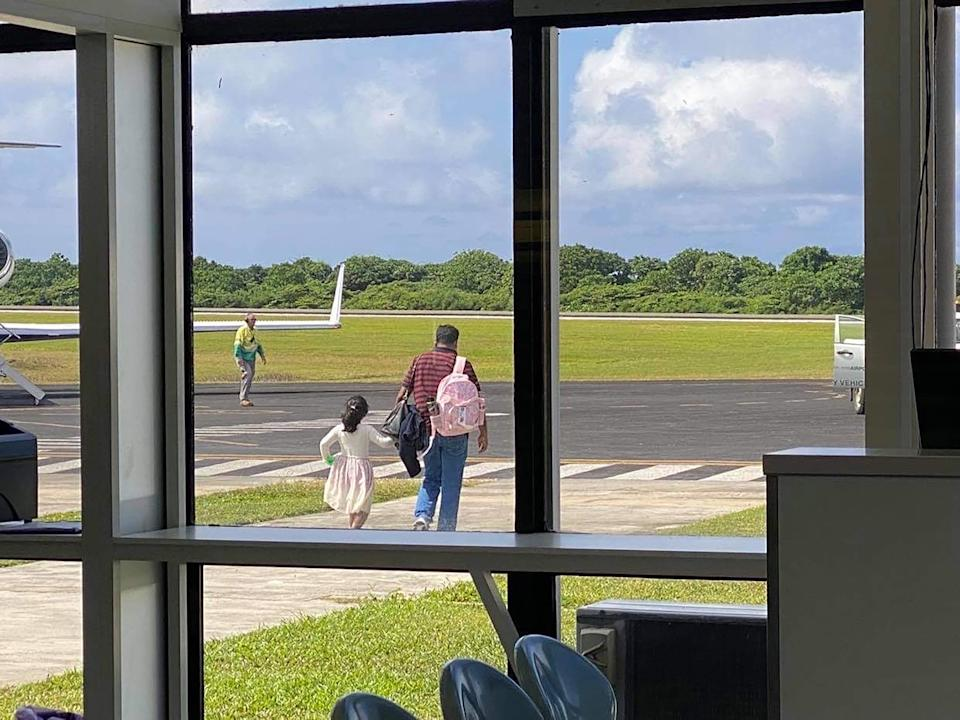 Tamil family at Christmas Island airport.  Source: AAP