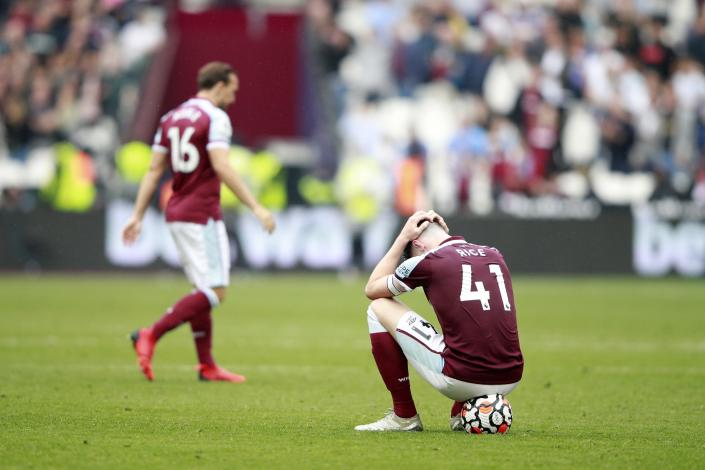 West Ham's Declan Rice reacts after the English Premier League soccer match between West Ham United and Manchester United at the London Stadium in London, England, Sunday, Sept. 19, 2021. Manchester United won 2-1. (AP Photo/Ian Walton)
