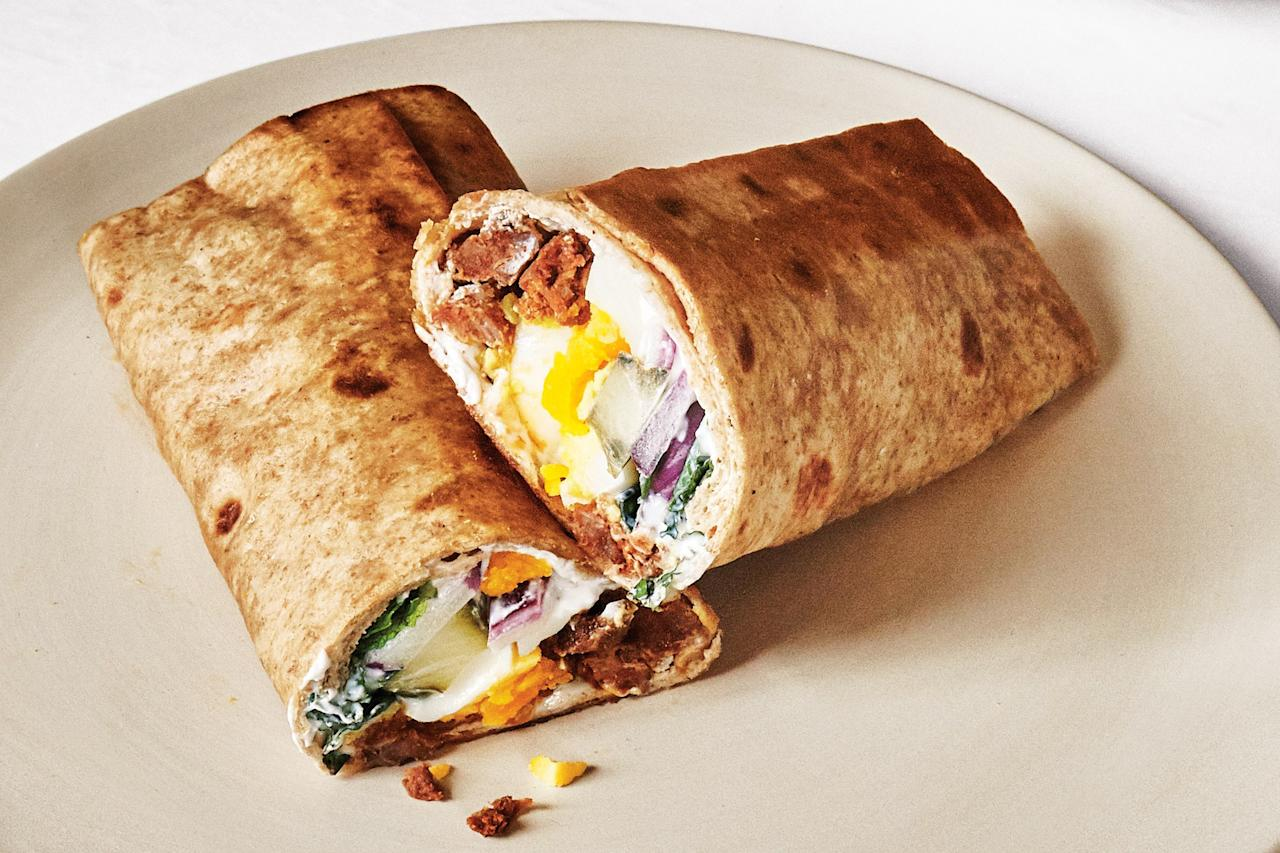 """It's a wrap griddled in sausage fat until the outside is crispy and warm. Need we say more? <a href=""""https://www.epicurious.com/recipes/food/views/egg-and-merguez-wraps?mbid=synd_yahoo_rss"""">See recipe.</a>"""