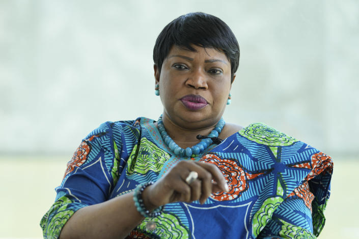 International Criminal Court Prosecutor Fatou Bensouda speaks during an interview with The Associated Press in The Hague, Netherlands, Monday, June 14, 2021. Bensouda discussed her nine years in office leading investigations and prosecutions by the global court as her tenure comes to an end June 15, 2021. (AP Photo/Peter Dejong)