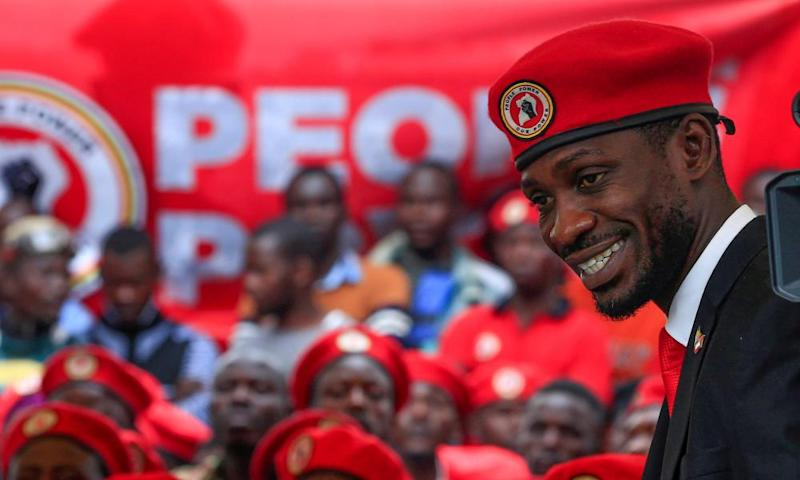 Bobi Wine gives a news conference in Kampala