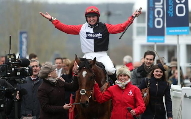 <span>Bryony Frost celebrates after her winning ride on Pacha Du Polder</span> <span>Credit: PA </span>